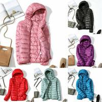 Coat Winter Women's Hoodie Puffer Packable Down Jacket Ultralight Stand Collar