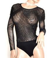 BODY corps noir à manches longues voilé strass femme T-shirt perles lichaam G28