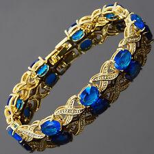 Charming! Blue Sapphire 18K White Gold Gp Tennis Bracelet Jewelry New