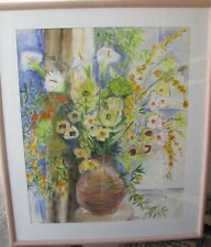 "JANET BORCHARDT NEW ZEALAND AUSTRALIAN LARGE WC ""STILL LIFE FLORAL"" 1987"
