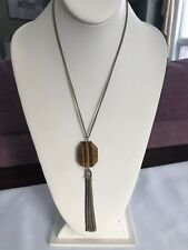 Necklace Signed Kenneth Cole New York Tigers Eye Semi Precious Stone Pendant