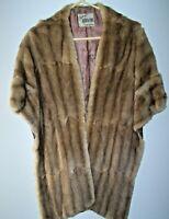 Lovely Vintage Mink Fur Stole/Wrap Satin Lining Pockets Worth Furs 1950's