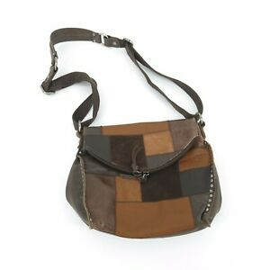 The Sak Silverlake Patchwork Leather Studded Flap CrossBody Bag Purse Handbag