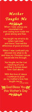 """""""Mother Taught Me"""" Mother's Day Bible Bookmark Ribbons, pack of 10 (#5-851)"""