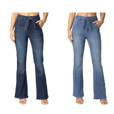 Almost Famous Belted Stretch Denim Flare Jean for women