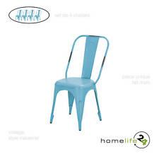 Set de 4 chaises en métal turquoise vintage pour cuisine ou salle à manger