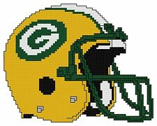 Counted Cross Stitch Pattern, Green Bay Packers Helmet - Free US Shipping