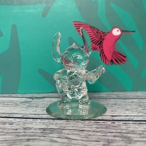 Disneyland Stitch and his guitar figure on mirror, Arribas Glass Collection
