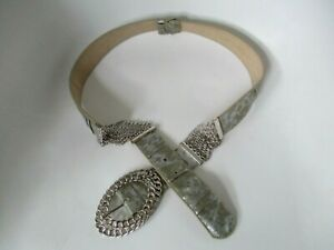 Women's Chico's Silver Metallic Chain Crinkle Leather Drop Waist Belt Size M/L
