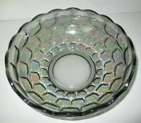 """VINTAGE FEDERAL GLASS Co.  Lg. 9 1/2"""" SMOKE IRIDESCENT COLONIAL PATTERN BOWL"""