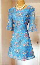 OASIS Blue Floral Fit & Flare Summer Holiday Tea Party Dress - Size 12 14