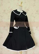 Cosplay Vintage Gothic Lolita Fantasy Navy Uniform Coat/Dress (BLACK)