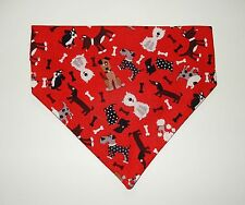 TINY WHITE/GREY/BLACK DOGS ON RED DOG SCARF--MEDIUM