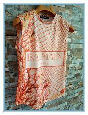balmain print vest top custumized gold buttons
