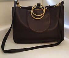 New Otaat Myers Collective Burgundy Brown Leather Gold Handle Ring Handbag Tote