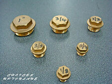 "BRASS HEX FLANGED MALE BLANKING CAP STOP END (1/2"" TO 1-1/2"") BSP"
