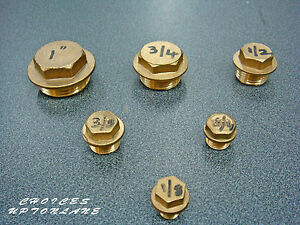 """BRASS HEX FLANGED MALE BLANKING CAP STOP END (1/2"""" TO 1-1/2"""") BSP"""