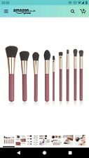 9 Piece Professional Synthetic Make Up Brush Set With PU Leather Bag Pink Soft