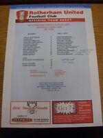 04/04/2005 Rotherham United Reserves v Hull City Reserves  (single sheet, folded
