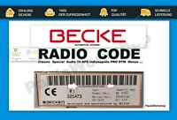 Radio Code Becker - BE79xx BE78xx Cascade Traffic Pro Indianapolis mehr Key Code