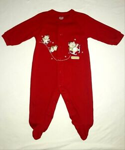 Baby's First Christmas outfit romper red coverall size 3-6M MINT boy girl