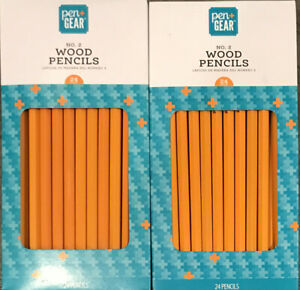 Lot of 2 Boxes - 48 Total Pcs. Pen+GEAR #2 Wood Pencils Home School and Office