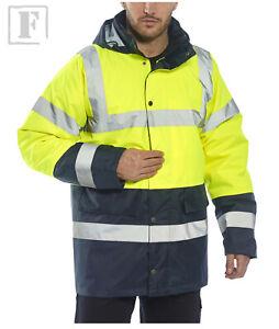 Arbeitsjacke Warnschutz Parka Winterjacke XS-6XL Regenjacke Warnjacke zweifarbig