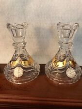 Candlestick Holders Set Of 2, gold accents, Crystal Clear, Made In Germany
