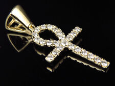 Solid 14K Yellow Gold Ankh Cross Genuine Diamond 1.5 Inch Pendant Charm 0.75ct.