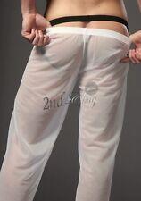 Men Lingerie Sheer Transparent Mesh Long Pants Home Wear Gauze Underwear Panties