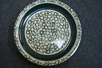 "Tienshan Stoneware Sponge Bands Dark Green Oven to Table 10 3/4"" Dinner Plate"