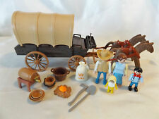 Playmobil Western History Covered Wagon w/ Cowboy, Family for Fort, Indians
