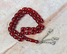"33 Beads Prayer Tesbih Misbaha Red Rosary with Silver Accents 10 "" long"