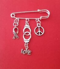 ANTI-RACISM KILT SAFETY PIN BROOCH HOPE FREEDOM PEACE LOVE