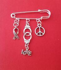 Anti-razzismo Kilt Pin Spilla Hope FREEDOM Peace Love