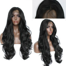 Synthetic Lace Front Wigs Long Wavy Natural Black Heat Resistant Synthetic Hair