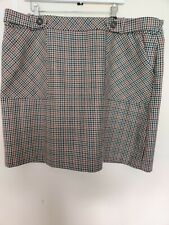 TU Women Skirt Check Houndstooth Brown White Pockets Knee Wool Blend 22 Autumn