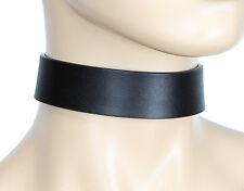 Plain Genuine Black Leather Choker Collar Necklace Roller Buckle Punk Goth Metal