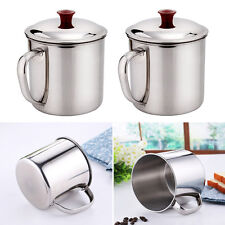 New and Durable 400ML Stainless Steel Camping Mug D Shape Handle Cup Water Cup