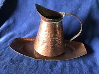 Antique Vintage Hammered Copper Jug and Tray - Rustic Chic