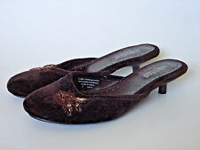 Unlisted {Size 8} Brown Fuzzy Floral Beaded Slip On Low Heels Excellent!