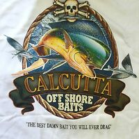 NEW  Calcutta T-Shirt, Old School Dolphin ROPE LOGO, White in Color, Size 3XL