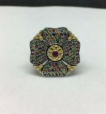 Konstantino Silver/18K Yellow Gold Ring Multi Gemstone Ring Size 5.75