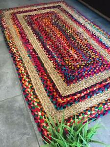 Chindi Braid Rug, Hand Woven & Reversible, Multi-Color Vibrant Fabric