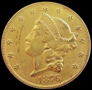 1876 S GOLD US $20 LIBERTY HEAD DOUBLE EAGLE COIN SAN FRANCISCO MINT AU