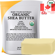 Organic Shea Butter 1 lb 453 g Raw Unrefined Ivory Grade A Premium Quality Am...