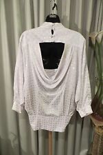 VINTAGE  ~ MATHILDE ~ White Cowl Back  BLOUSE/TOP * Size 12 * REDUCED !!