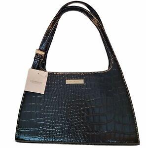 Timeless Liz Claiborne Black Faux Leather Small Purse Handbag Faux Crocodile