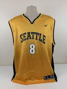 Seattle Sonics Luke Ridnour Reebok Yellow Jersey Mens Size XL NBA Nylon EUC