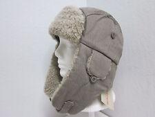 New M Stetson Corduroy Trapper Winter Hat - Gray - 100% Cotton - aviator $50msrp